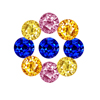 10 Carats Round Multi Color Sapphire Lot in Size 2 mm
